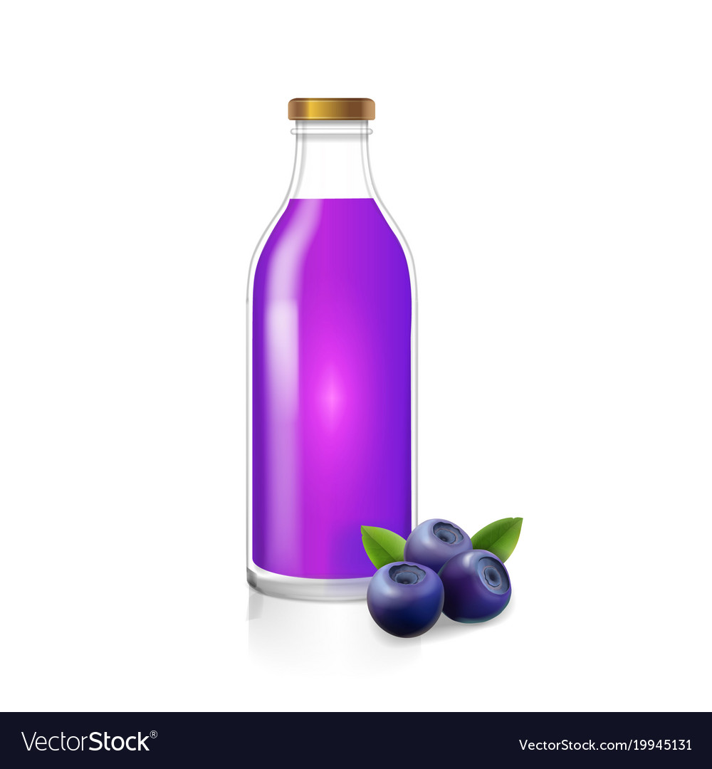 Glass bottle of blueberry juice berry drink