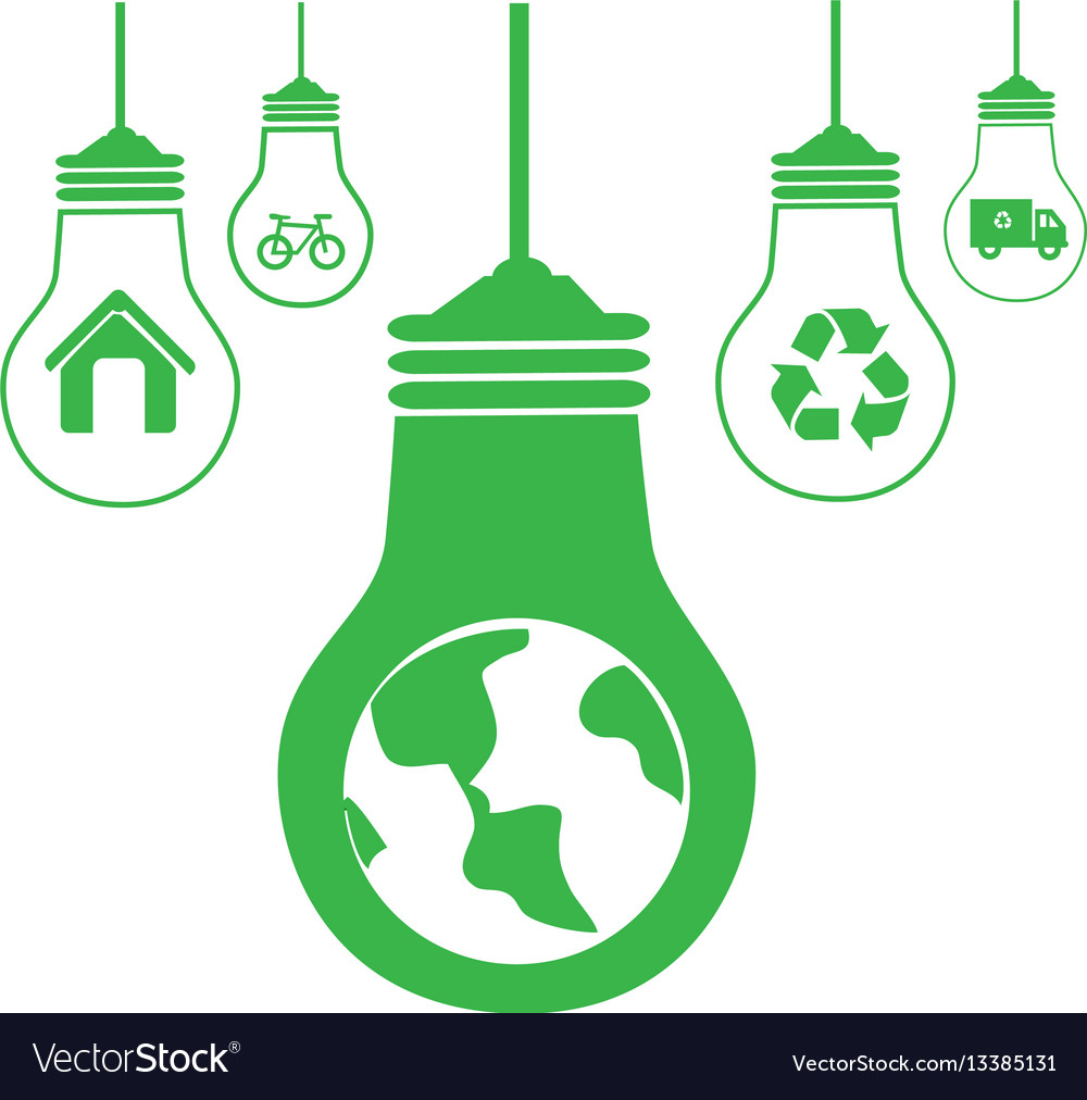 Green silhouette with bulb lights with recycling