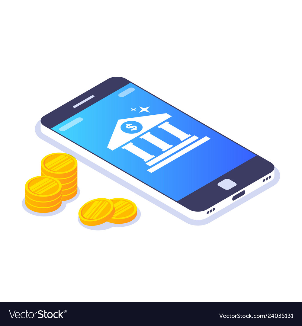 Isometric mobile banking concept