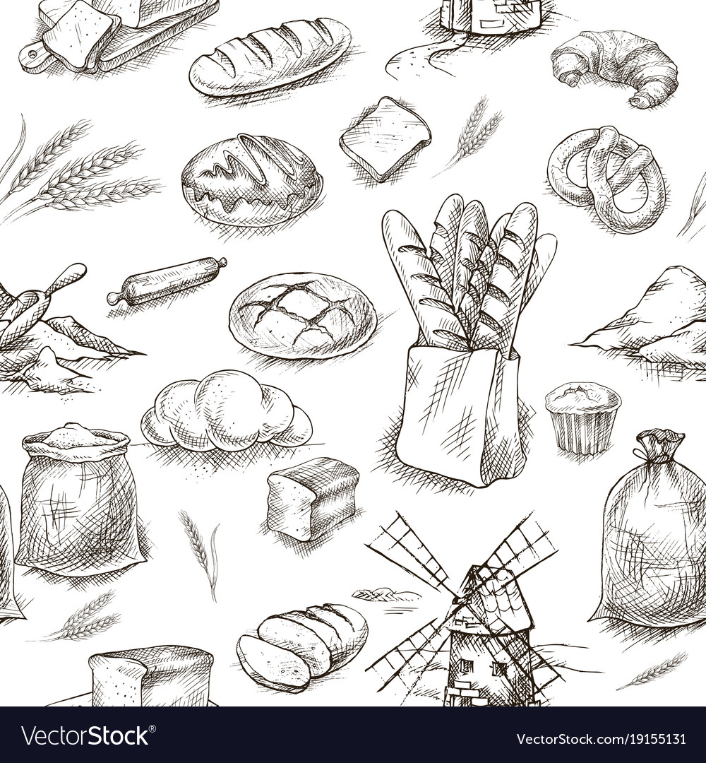 Seamless bread bakery background