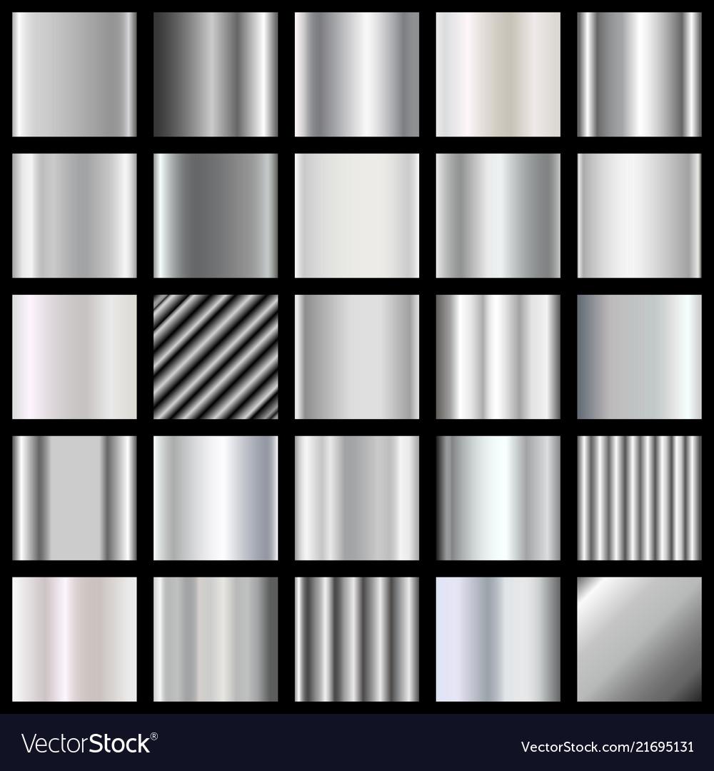 Set of silver gradients metallic squares