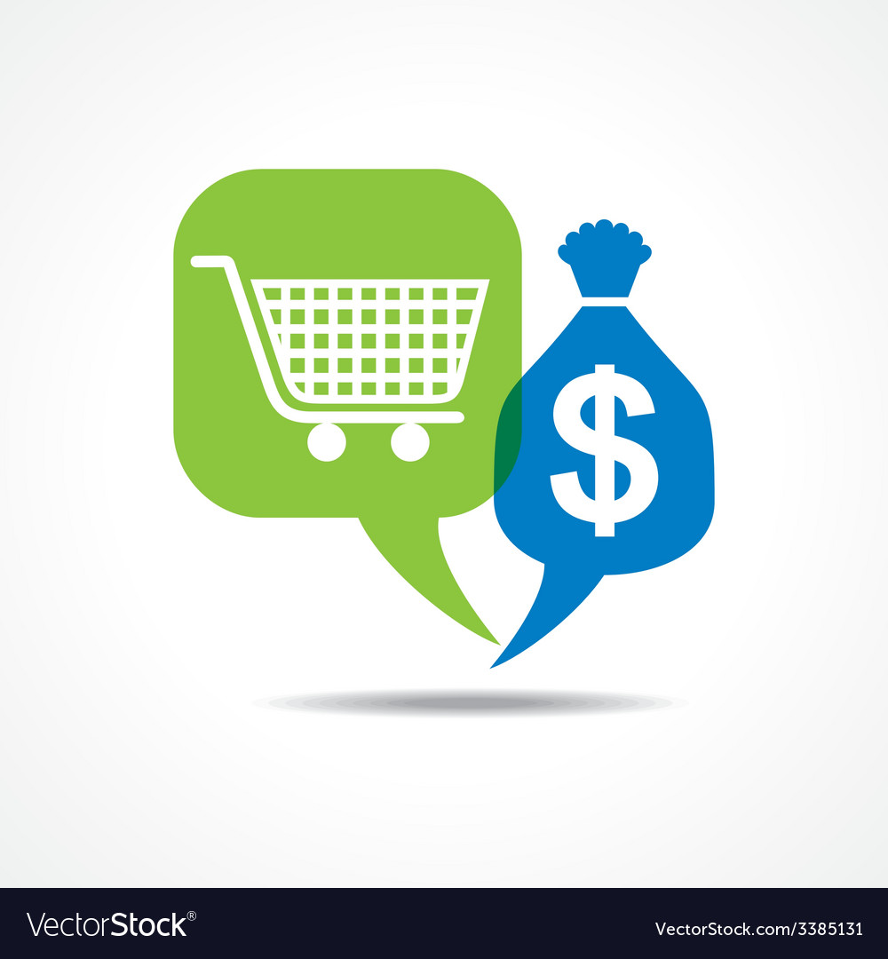 Shopping cart and dollar symbol in message bubble