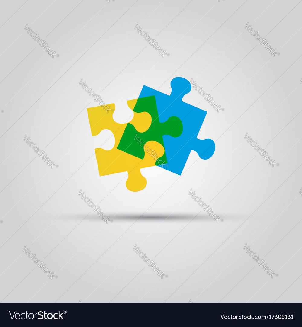 Two puzzle pieces isolated colored logo
