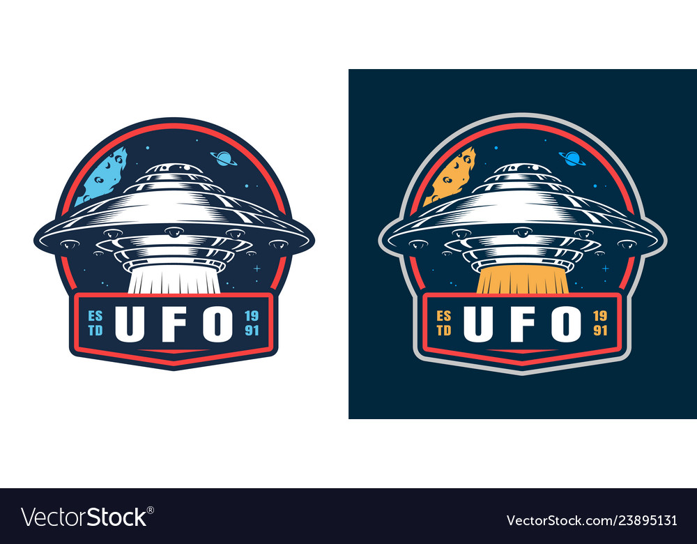 Vintage space colorful round badge