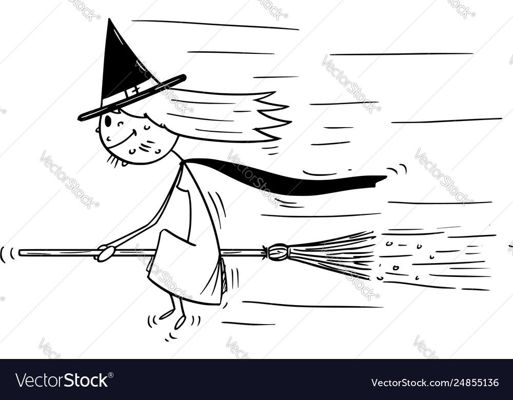Cartoon with flying sitting on broom