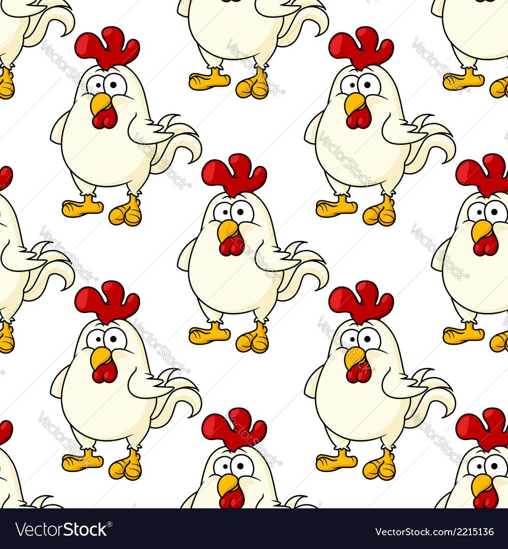Cute little fat cartoon chicken seamless pattern