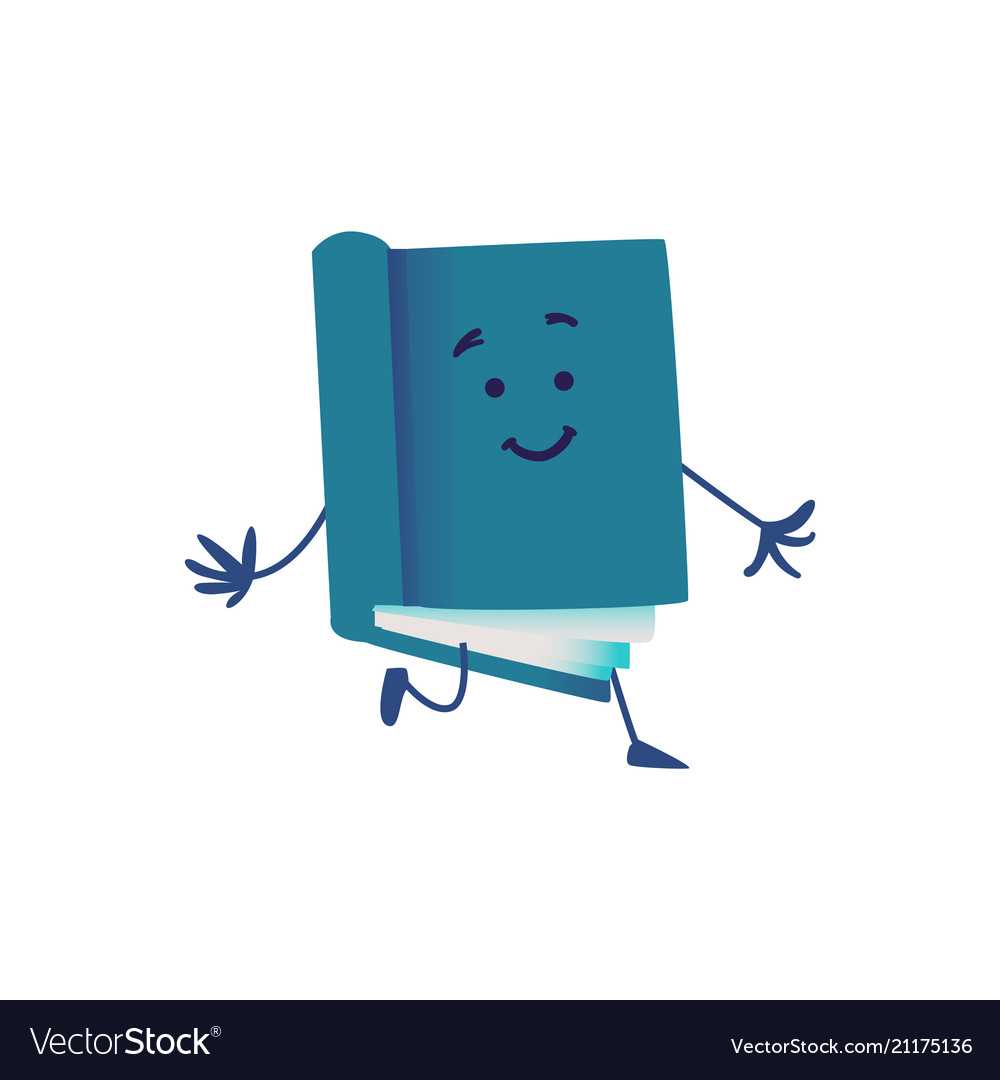 Funny book cartoon character running ahead vector image