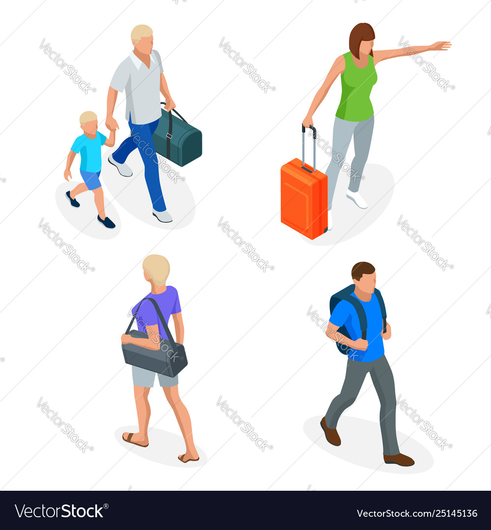 Isometric people with travel bag traveling on