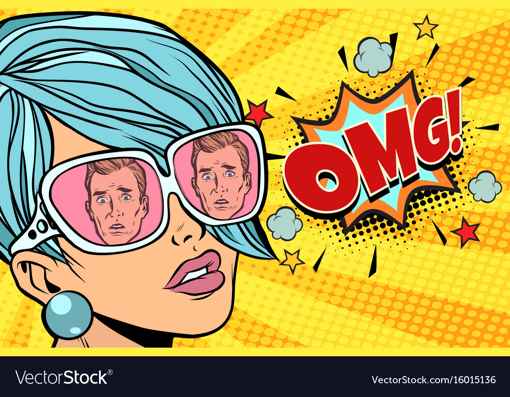 Omg beautiful woman the reflection of men in vector image