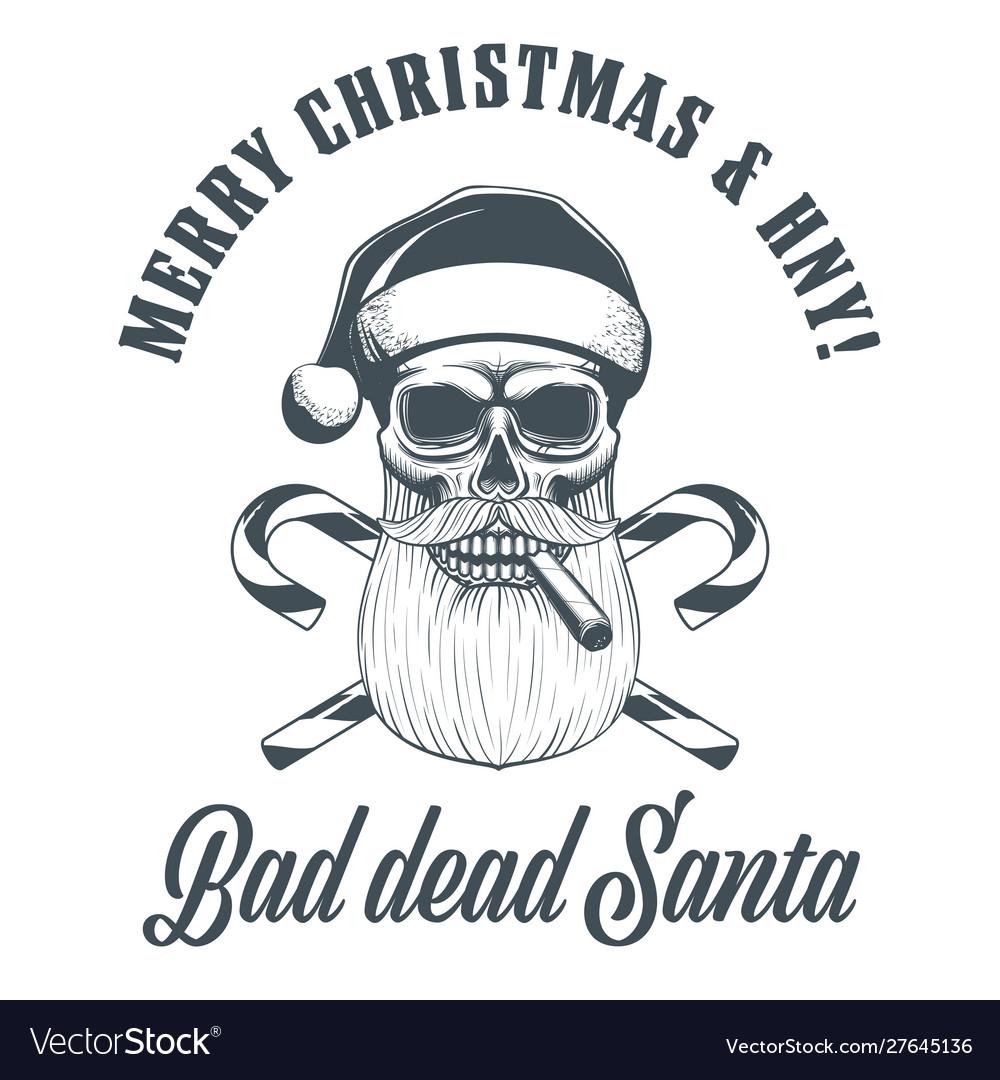 Smoking santa claus skull