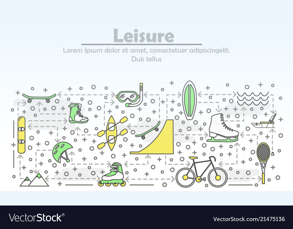 Thin line leisure poster banner template