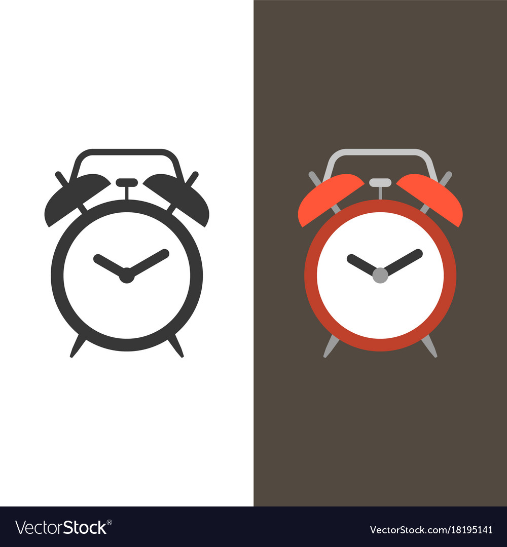 Alarm clock flat design and silhouette