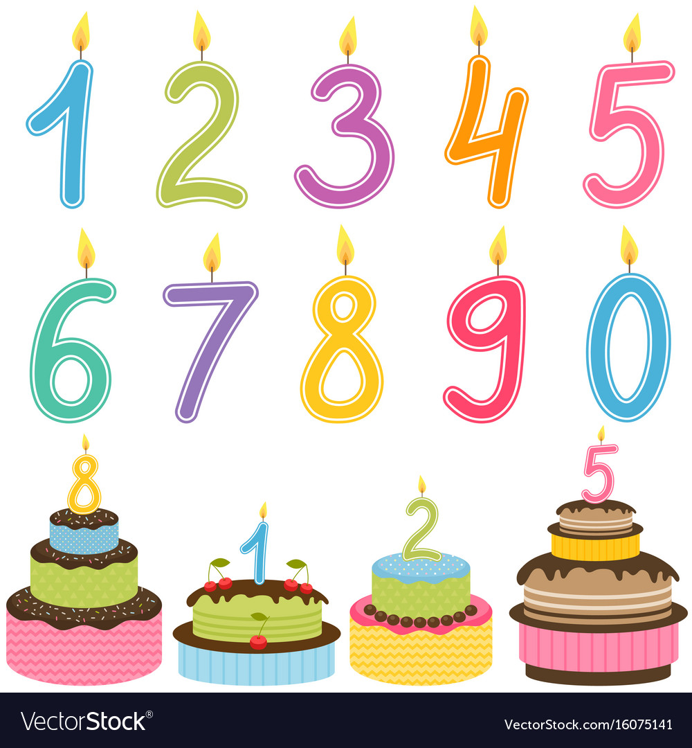Amazing Birthday Numbers Candle With Birthday Cakes Vector Image Birthday Cards Printable Giouspongecafe Filternl