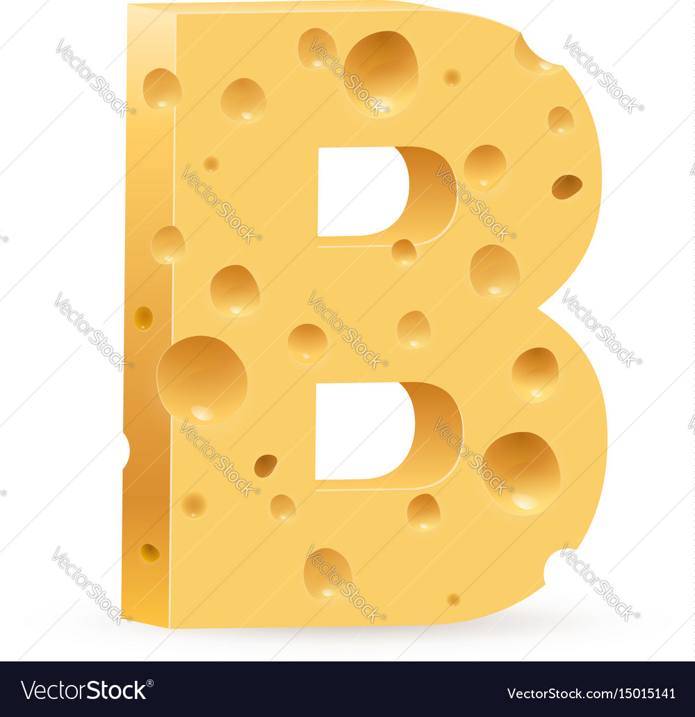 Cheese font b letter on white