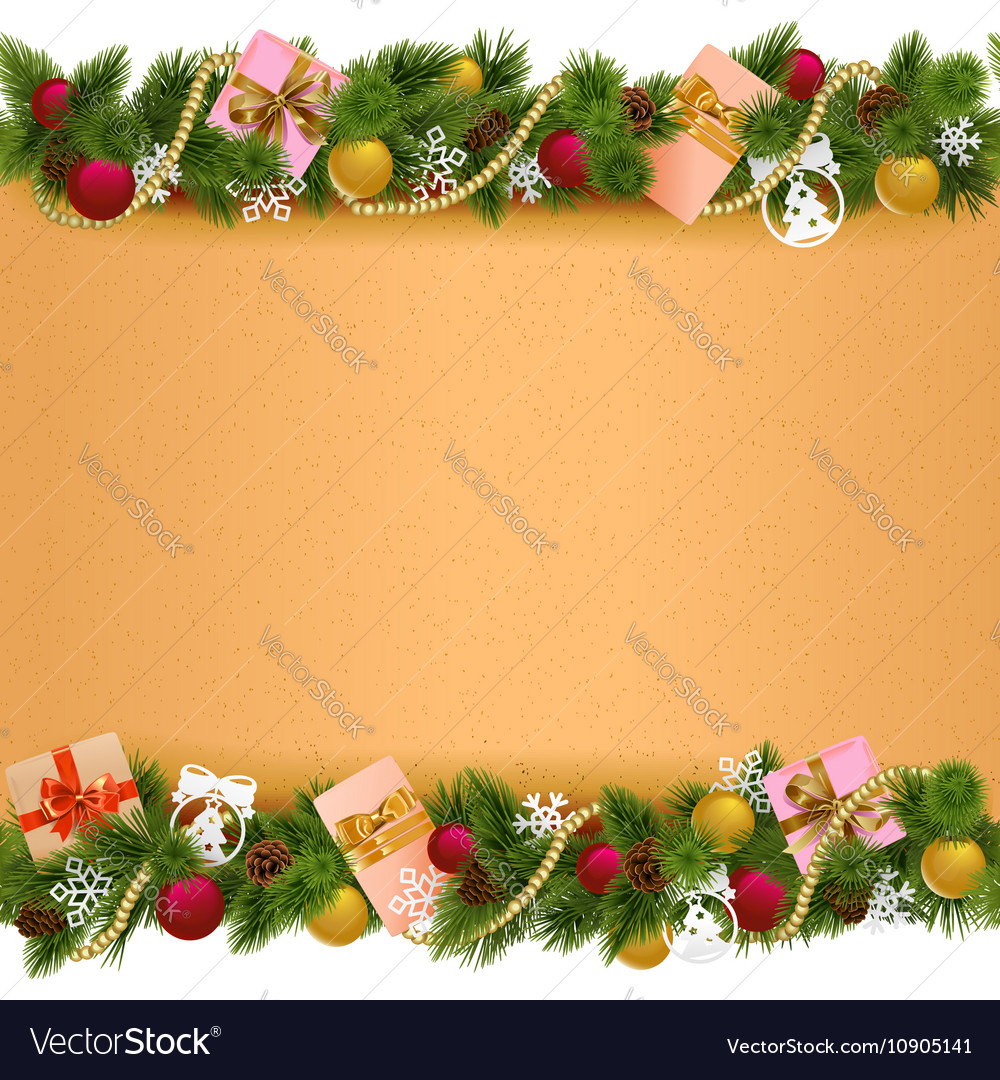 Christmas Border Design.Christmas Border With Paper Scroll