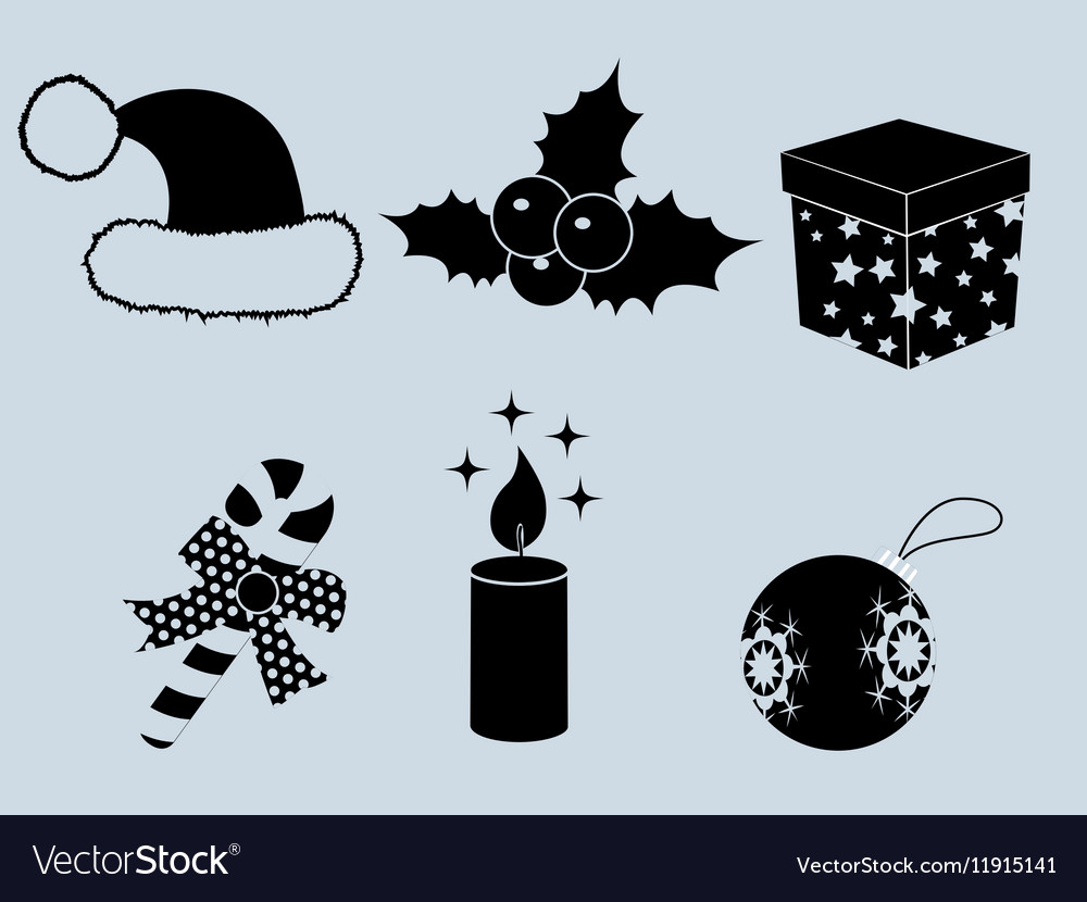 Christmas set of icons collection silhouette 2