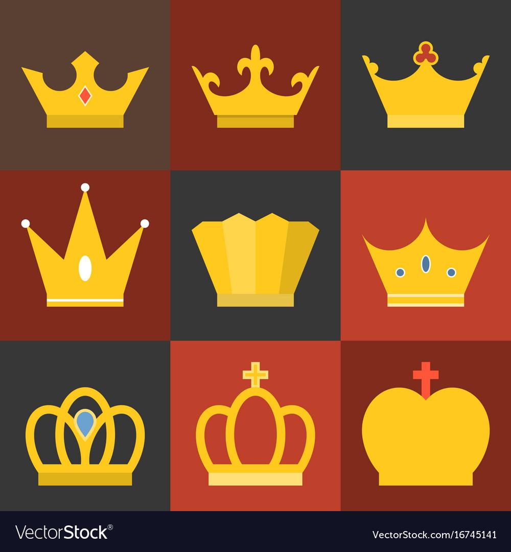 Crown flat design set 3