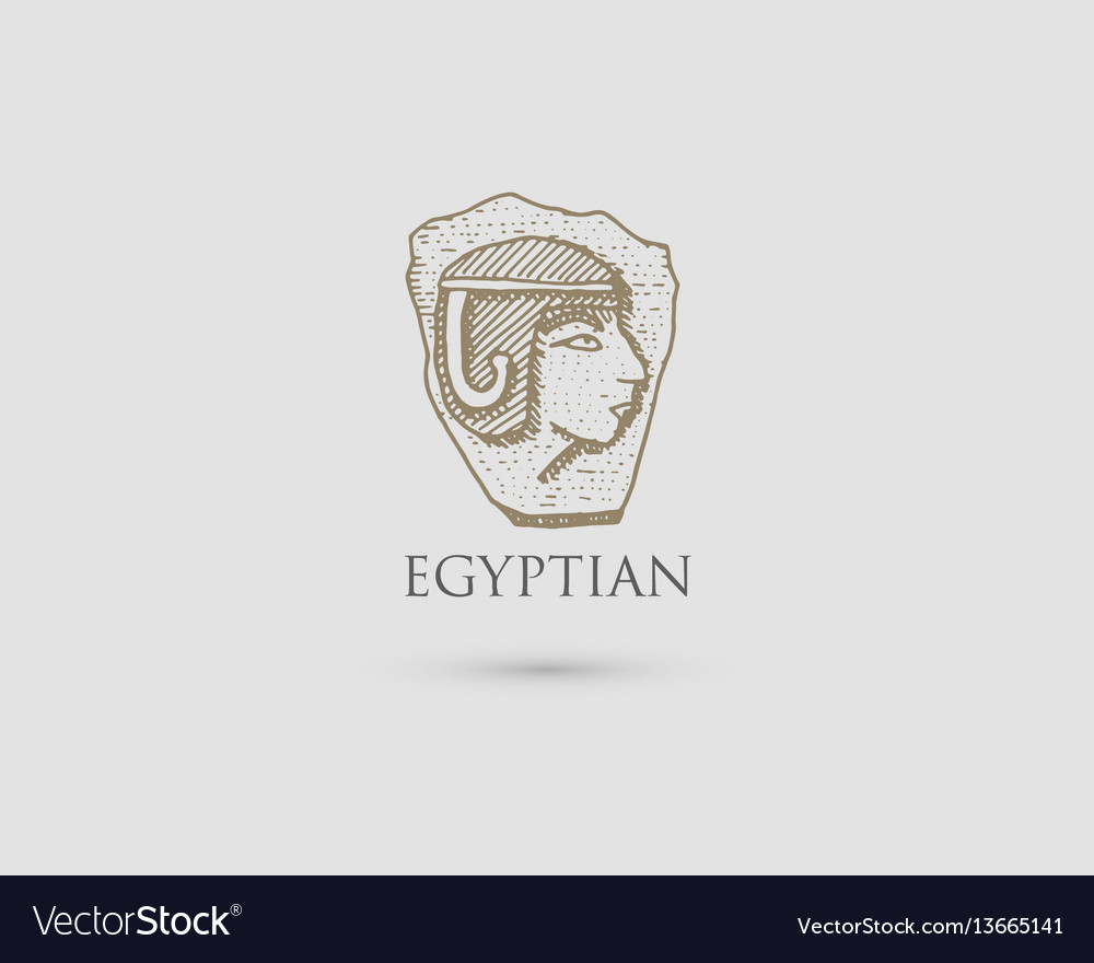 Egyptian pharaon logo with symbol of ancient