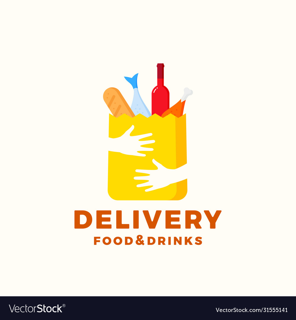Flat style colorful food and drinks delivery