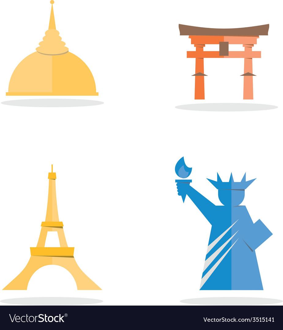 Four famous landmark icon