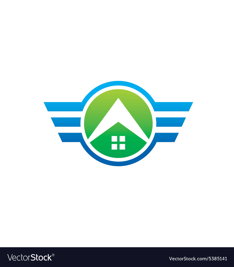 House abstract wing construction emblem logo
