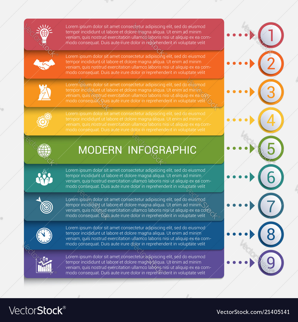 Modern strips infographics 9 options banner
