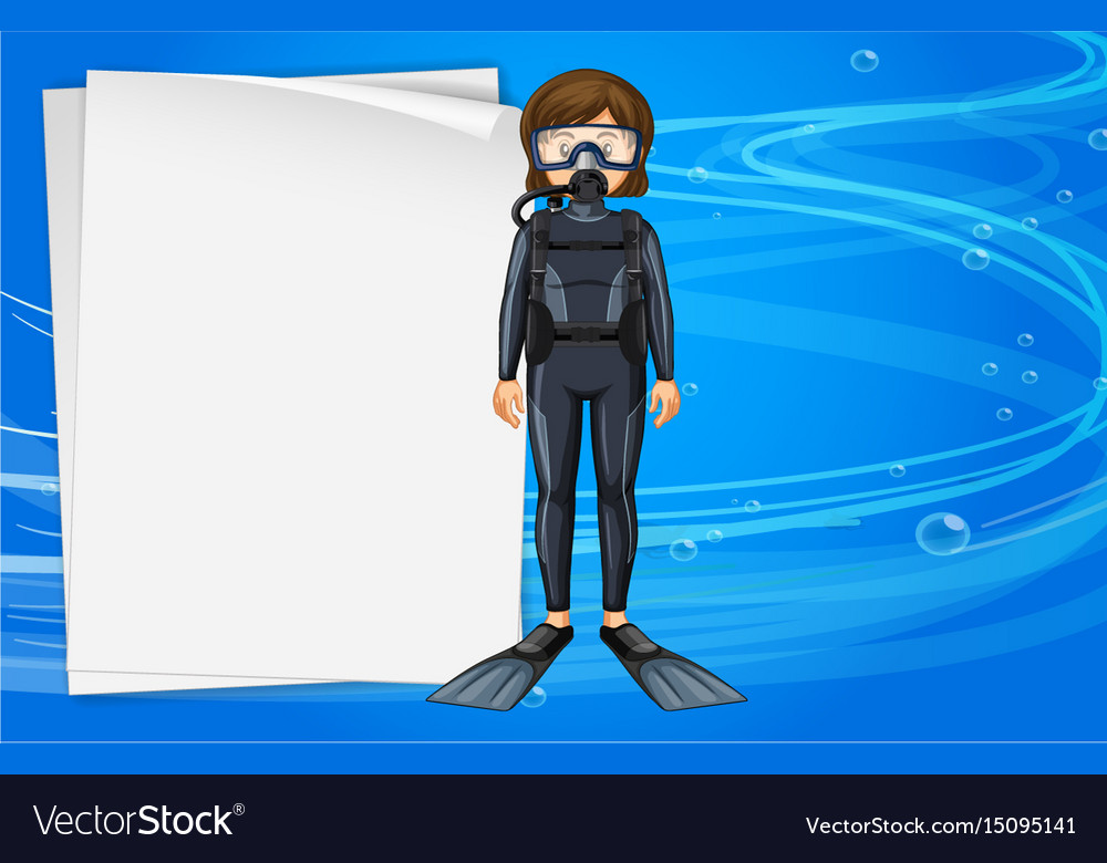 Paper Template With Girl In Scuba Diving Outfit Vector Image