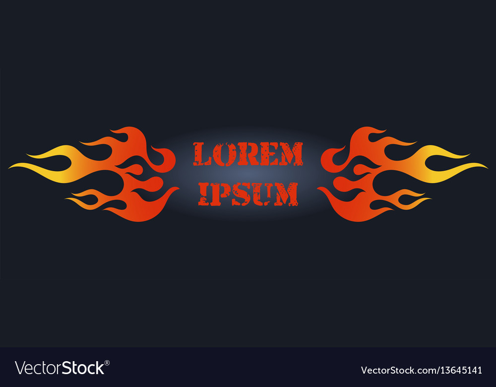 Red and orange gradient flame frame element