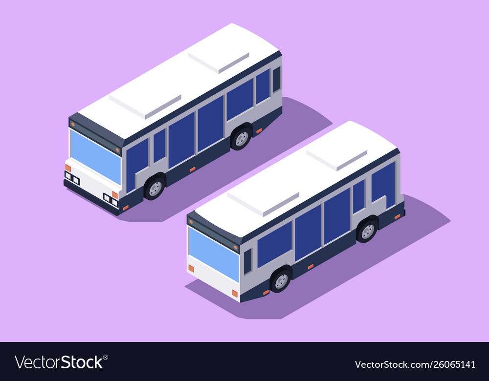 Set front and back view bus for transportation of