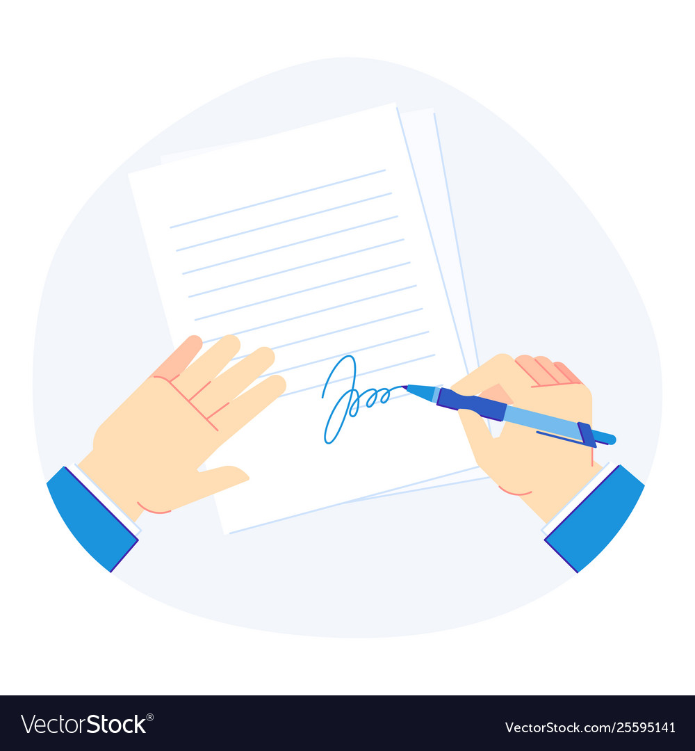 Signing document pen in businessman hand