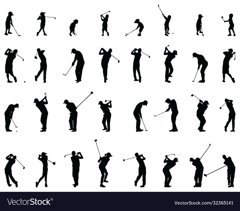 Silhouettes golf players