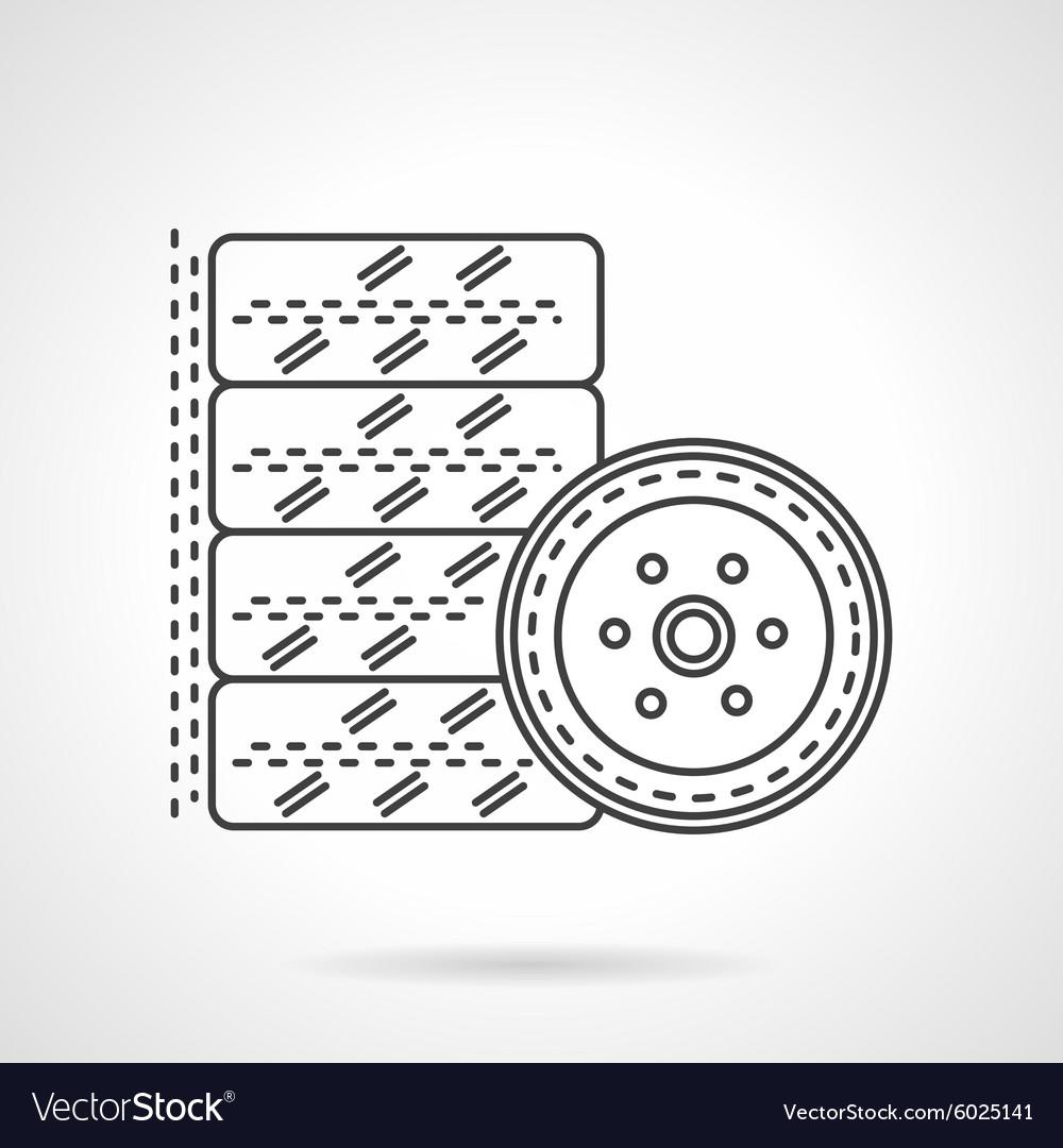 Tires kit flat line icon
