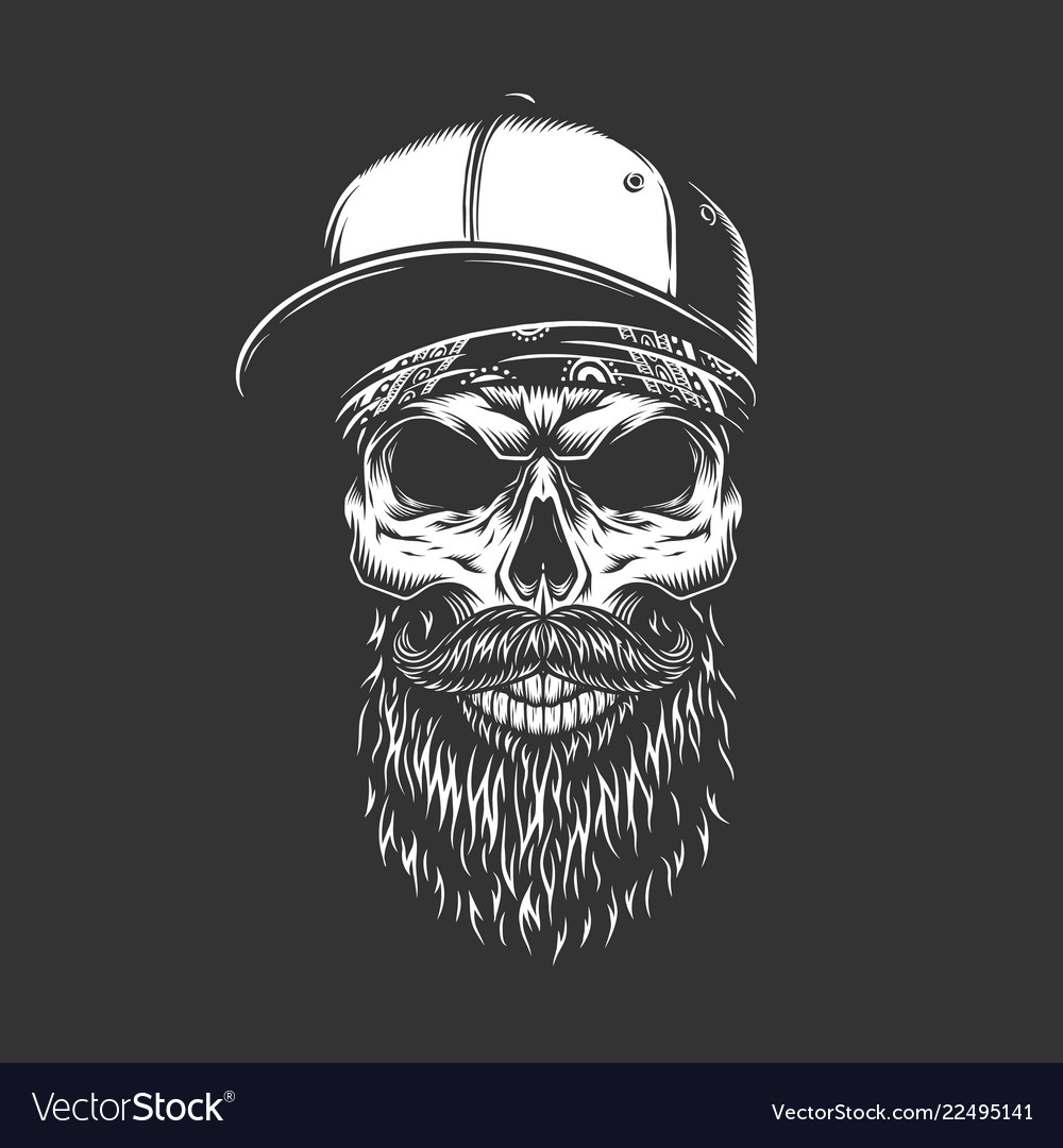 Vintage monochrome bearded and mustached skull