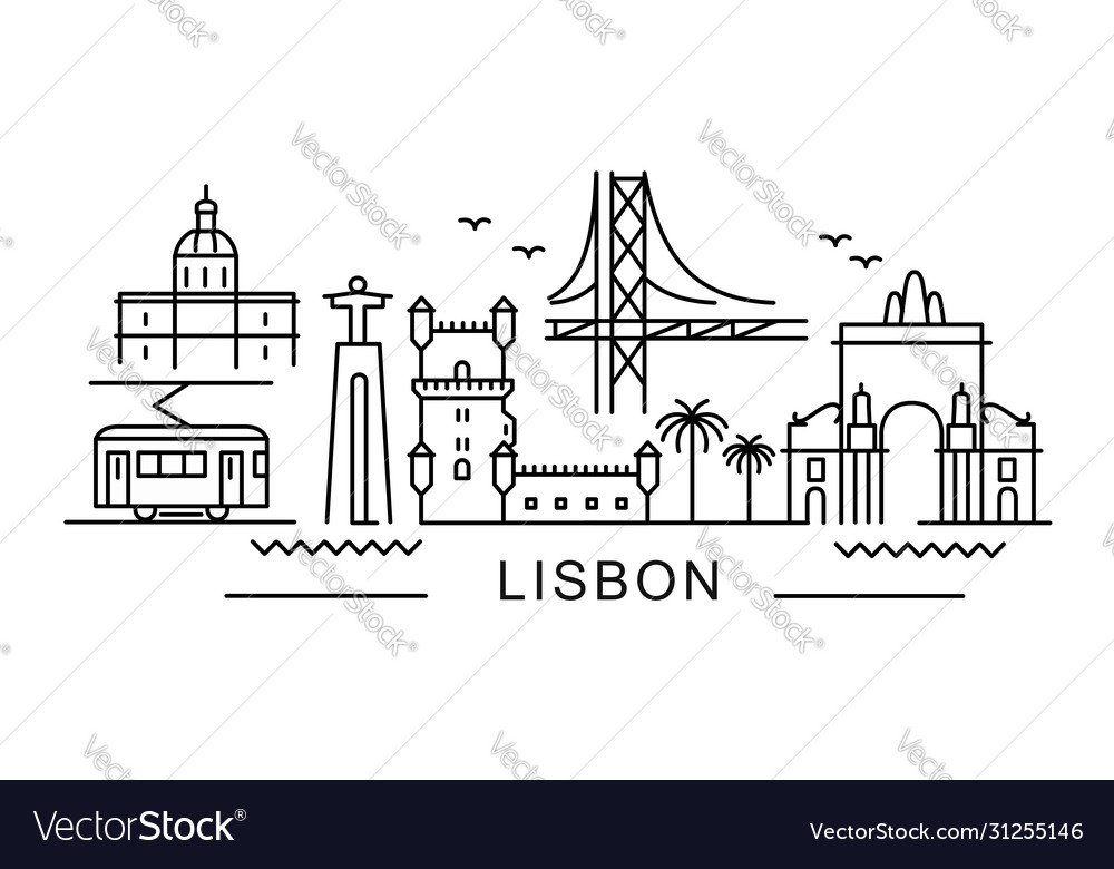 City lisbon in outline style on white