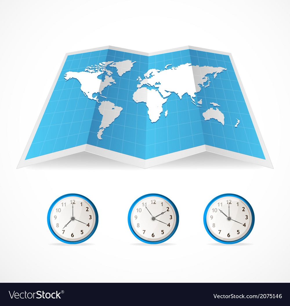 Map icon and world time clocks royalty free vector image map icon and world time clocks vector image gumiabroncs Gallery