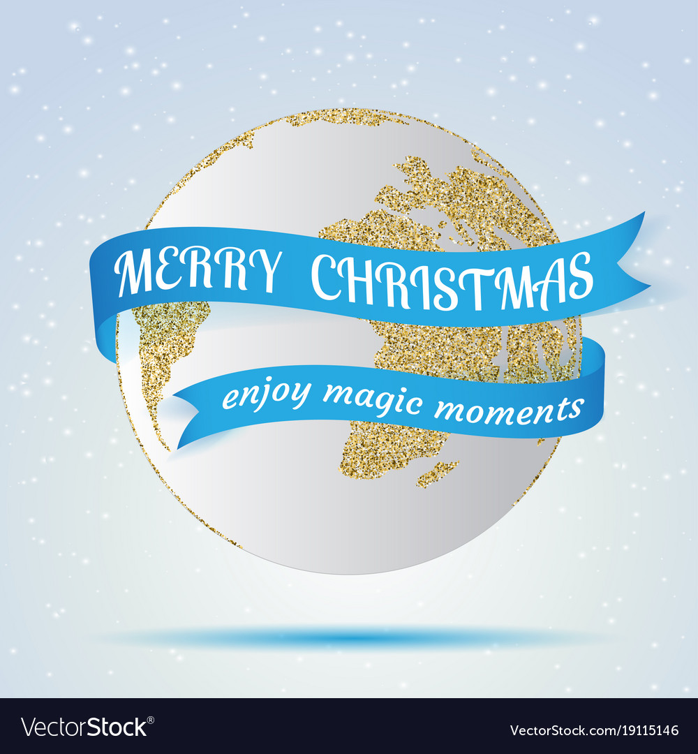 Merry christmas earth icon with red ribbon around