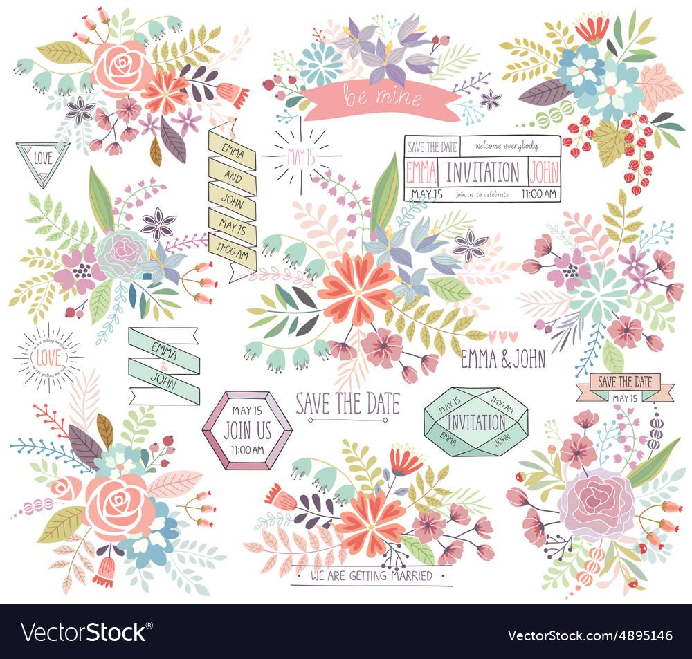 Romantic Floral hand drawn set
