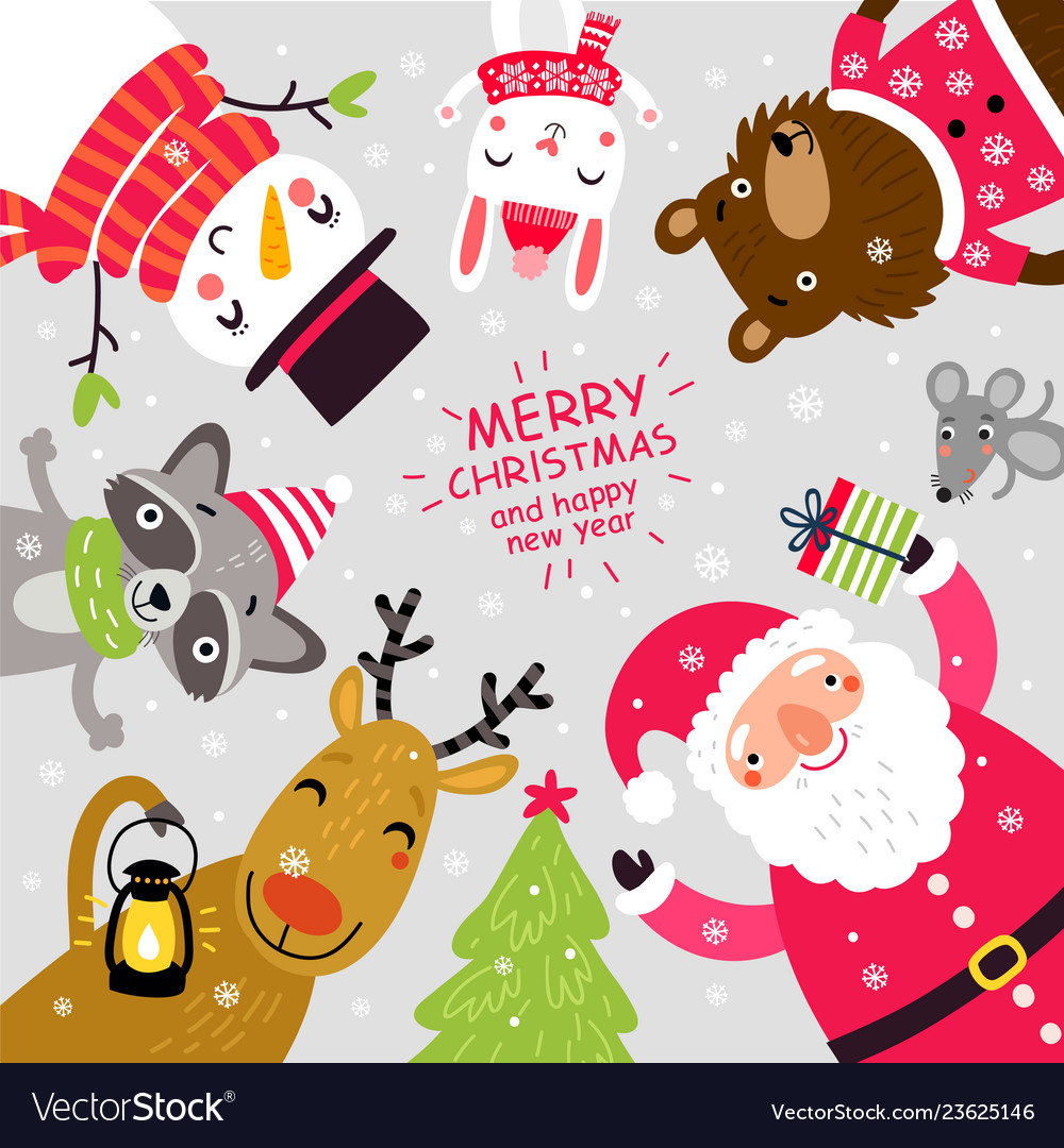 Santa and animals christmas card