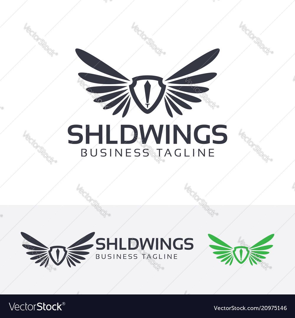 Shield wings logo design