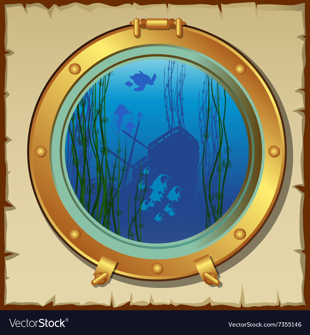 Submarines porthole with underwater view landscape