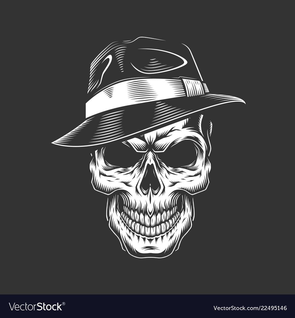 Vintage monochrome gangster skull in hat