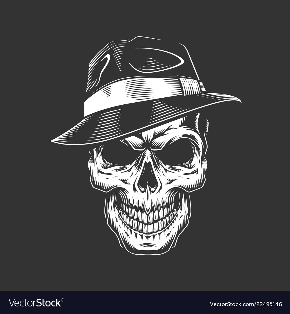 5aae8c03cbb05 Vintage monochrome gangster skull in hat Vector Image