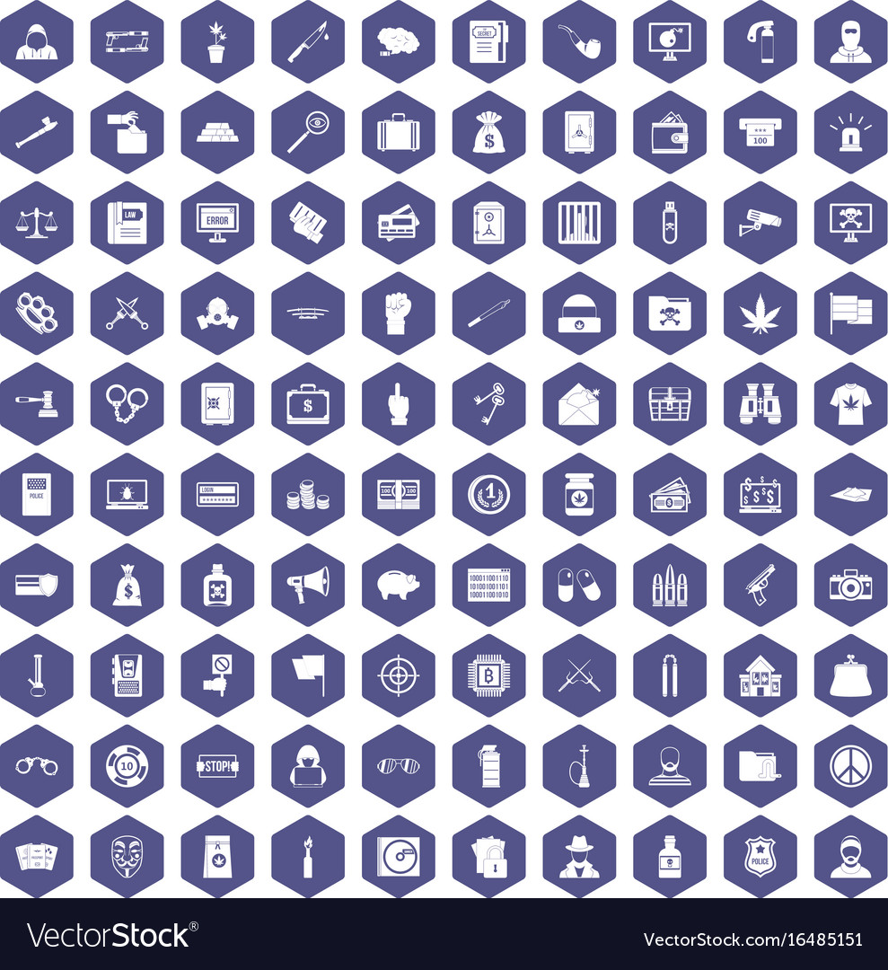 100 criminal offence icons hexagon purple vector image