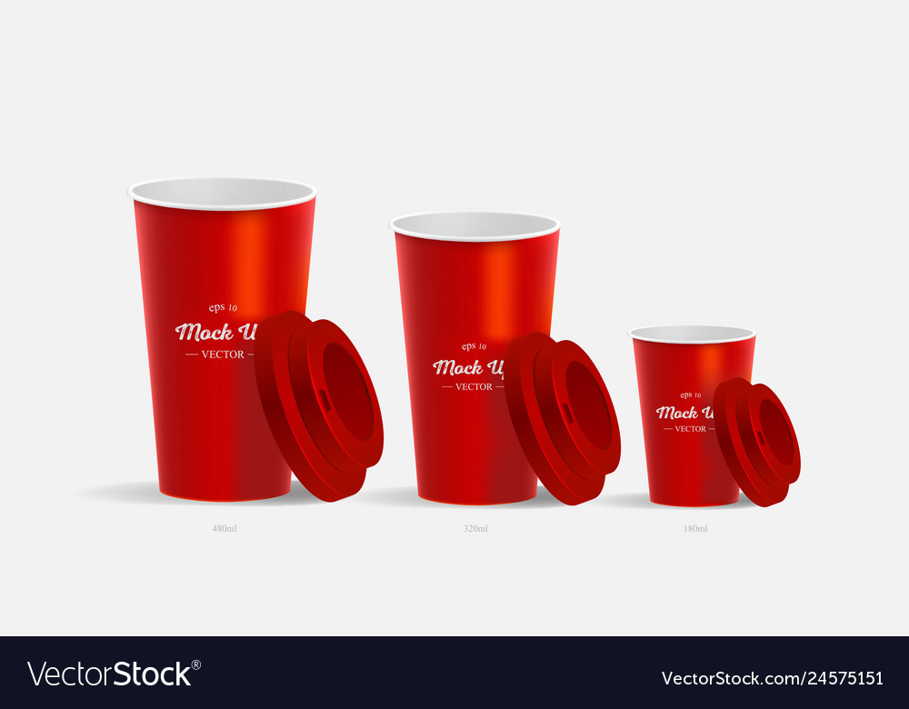 5d5be70027a 3 red coffee cups mockup on red background Vector Image