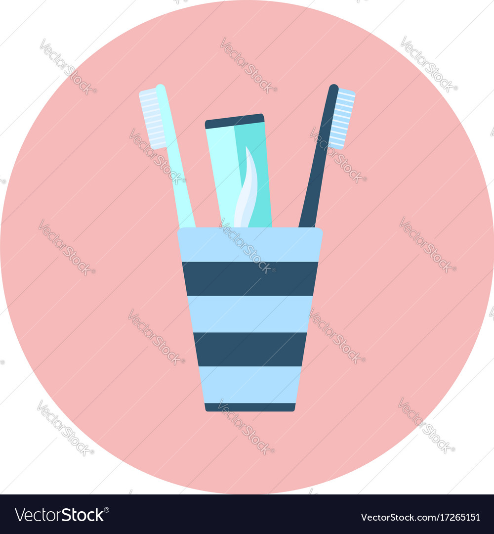 Blue flat toothpaste and two brushes in glass icon