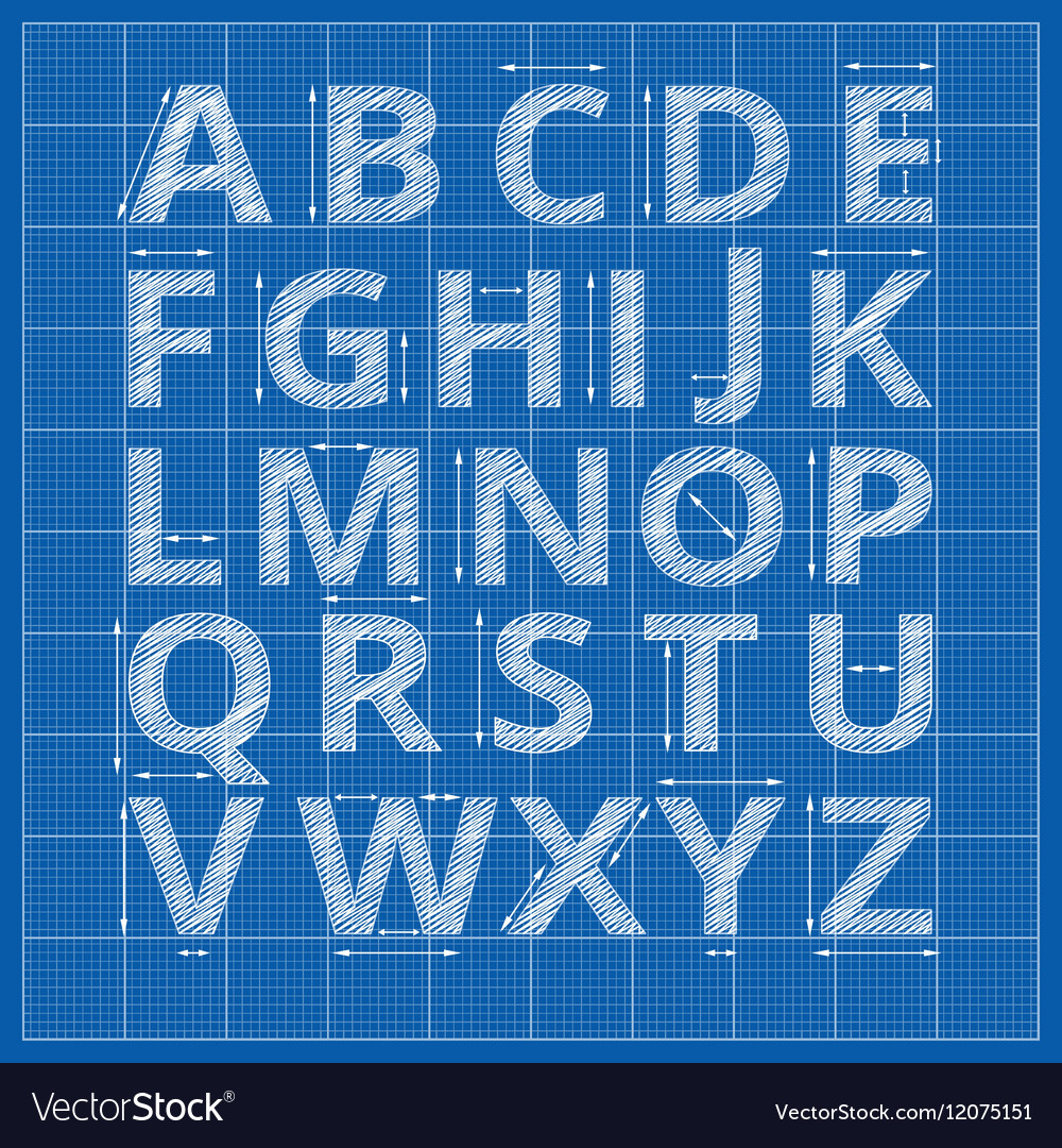 Blueprint alphabet drafting paper letters vector image malvernweather Gallery
