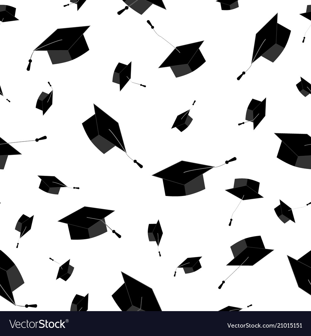 graduation caps fly in the air seamless pattern vector image
