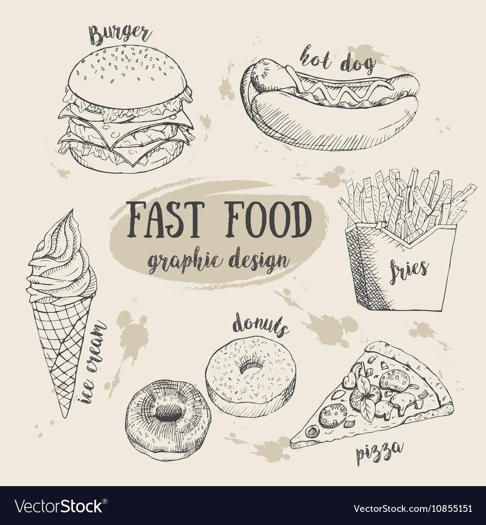 Hand drawn fastfood set Creative