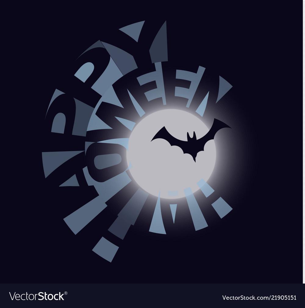 Happy halloween banner bat sillhouette