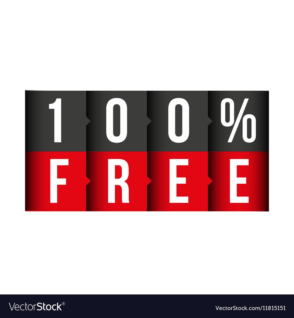 Hundred percent free lettering vector image